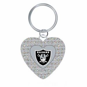 Oakland Raiders Glitter Stone Heart Key Ring - Click to enlarge