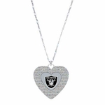 Oakland Raiders Glitter Stone Heart Necklace