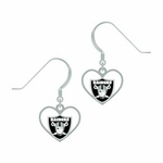 Oakland Raiders Heart Cut J-Hook Earrings