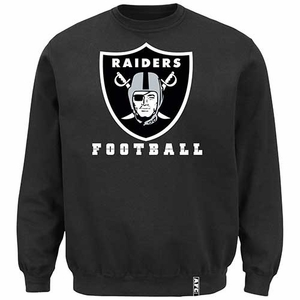 Oakland Raiders Heavyweight Black Crew Fleece - Click to enlarge