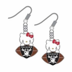 Oakland Raiders Hello Kitty Dangle Football Earrings