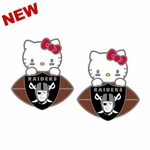 Oakland Raiders Hello Kitty Post Football Earrings
