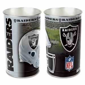 Oakland Raiders Helmet 15 Inch  Tapered Wastebasket - Click to enlarge