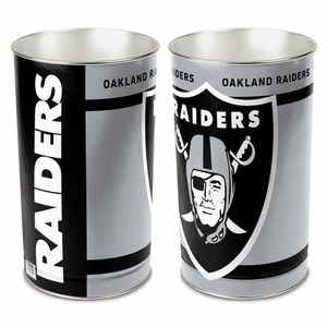Oakland Raiders 15 Inch Tapered Wastebasket - Click to enlarge