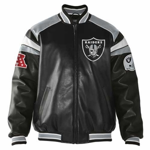Oakland Raiders Home Team Pleather Jacket - Click to enlarge