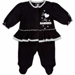 Oakland Raiders Infant Girls Solid Sleep N Play Set