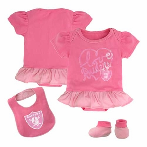 Oakland Raiders Infant Three Piece Pink Fan-atic Set - Click to enlarge