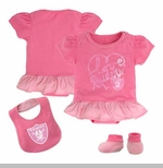 Oakland Raiders Infant Three Piece Pink Fan-atic Set