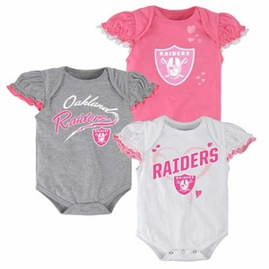 Oakland Raiders Infant Three Piece Pink Onesie Set - Click to enlarge