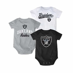 Oakland Raiders Infant Three Piece Team Color Onesie Set