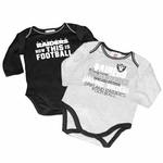 Oakland Raiders Infant Two Pack Long Sleeve Creeper Set