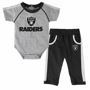 Oakland Raiders Infant Two Piece Creeper and Pant Set - Click to enlarge
