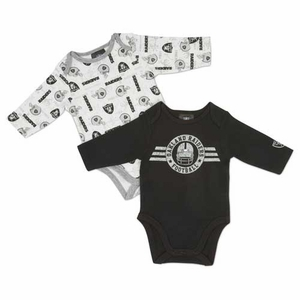 Oakland Raiders Infant Two Piece Long Sleeve Bodysuit Set - Click to enlarge