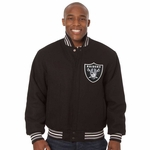 Oakland Raiders JH Design Black Wool Logo Jacket