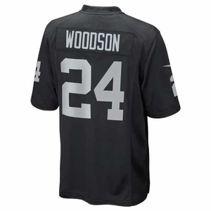 Oakland Raiders Juvenile Charles Woodson Black Game Jersey - Click to enlarge