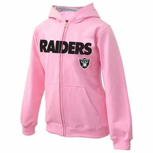 Oakland Raiders Juvenile Pink Sportsman Zip Sweatshirt - Click to enlarge
