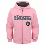 Oakland Raiders Juvenile Stated Pink Full Zip Sweatshirt