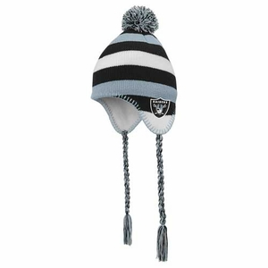 Oakland Raiders Juvenile Tassle Knit Hat with Pom - Click to enlarge
