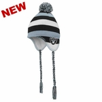 Oakland Raiders Juvenile Tassle Knit Hat with Pom