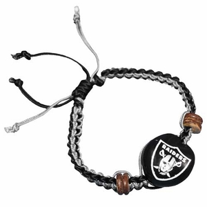 Oakland Raiders Kukui Nut Macram� Bracelet - Click to enlarge