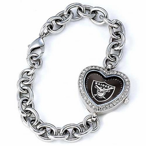Oakland Raiders Ladies Heart Watch - Click to enlarge