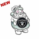 Oakland Raiders LED Santa Ornament