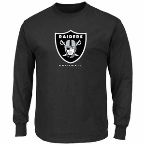 Oakland Raiders Majestic Critical Victory VIII Long Sleeve Black Tee - Click to enlarge