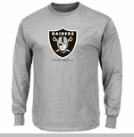 Oakland Raiders Majestic Critical Victory VIII Long Sleeve Steel Tee
