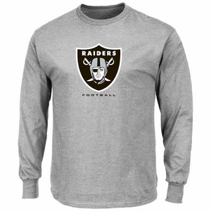 Oakland Raiders Majestic Critical Victory VIII Long Sleeve Steel Tee - Click to enlarge