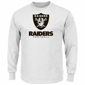 Oakland Raiders Majestic Critical Victory VIII Long Sleeve White Tee - Click to enlarge