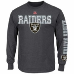 Oakland Raiders Majestic Gridiron Tough Long Sleeve Tee