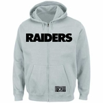 Oakland Raiders Majestic Heavyweight Full Zip Steel Hood