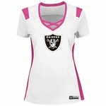 Oakland Raiders Majestic Pink and White Draft Me Tee