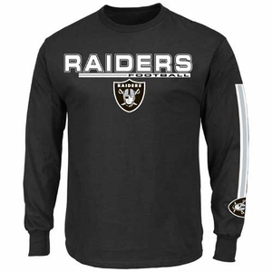 Oakland Raiders Majestic Primary Receiver V Long Sleeve Tee - Click to enlarge