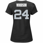 Oakland Raiders Majestic Womens Charles Woodson Fair Catch IV Tee