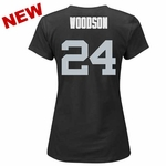 Oakland Raiders Majestic Womens Charles Woodson Fair Catch V Tee