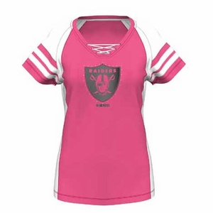 Oakland Raiders Majestic Womens Draft Me VII Pink Tee - Click to enlarge