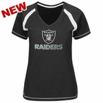 Oakland Raiders Majestic Womens Go For Two V Tee