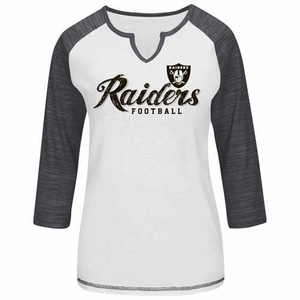 Oakland Raiders Majestic Womens Victory is Sweet 3/4 Sleeve Tee - Click to enlarge