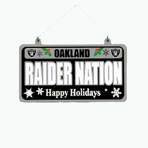 Oakland Raiders Metal License Plate Ornament - Click to enlarge