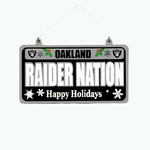 Oakland Raiders Metal License Plate Ornament