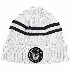 Oakland Raiders Mitchell & Ness Heather Striped Cuffed Knit Hat - Click to enlarge