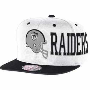 Oakland Raiders Mitchell & Ness White Helmet Snapback Cap - Click to enlarge