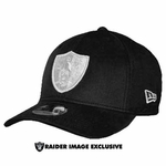 Oakland Raiders New Era 39Thirty Black Gray Logo Cap