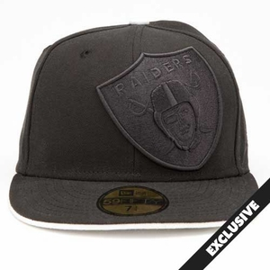 Oakland Raiders New Era 59Fifty Black Tonal Oversize Logo Cap - Click to enlarge