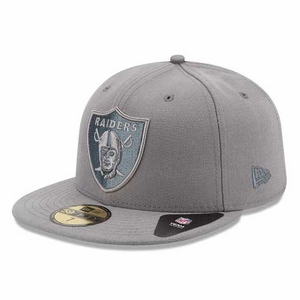 Oakland Raiders New Era 59Fifty Pop Grey Basic Cap - Click to enlarge