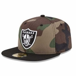 Oakland Raiders New Era 59Fifty Woodland Camo