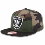 Oakland Raiders New Era 9Fifty Pop Woodland Camo Cap