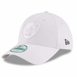 Oakland Raiders New Era 9Forty White on White Logo Cap