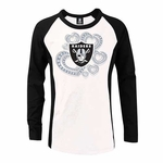 Oakland Raiders New Era Girls Long Sleeve Raglan Crew